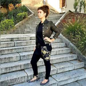 spodnie baggy - złote monstery, czarne, dresowe, dres damski