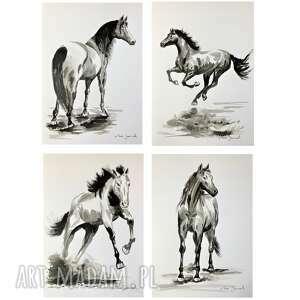 konie rysunki tuszem, koń, konie, grafika, rysunek, ręcznie, oryginalny
