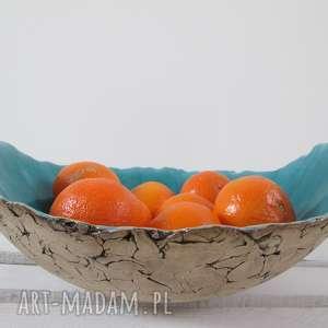 ręczne wykonanie ceramika artystyczna turkusowa misa jak skała
