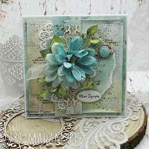 Moc życzeń - kartka z pudełkiem scrapbooking kartki papierowa