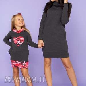 KOMPLET DLA MAMY I CÓRKI, sukienka dresowa z półgolfem i kieszeniami, model 23