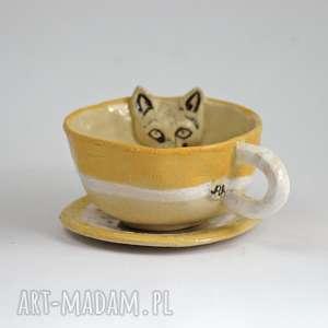 ceramiczna filiżanka kubek z kotem-miodowy -przecena, kubek, filizanka, zkotem, kot