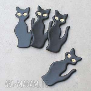 Zestaw magnesów koty magnesy pracownia ako magnesy, kot, czarny