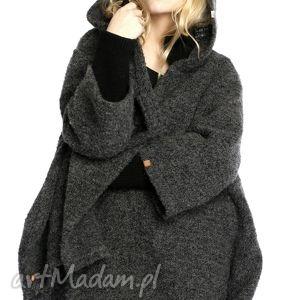 płaszcz bukle coat, płaszcz, wełniane, ciepłe, obszerne, kaptury, rozpinane
