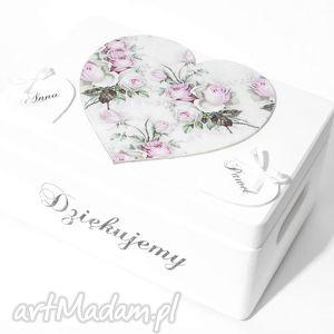 Ślubne pudełko na koperty Kopertówka Personalizowane Serce Napis Dziękujemy