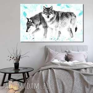 obraz xxl wilki 1 -120x70cm design na płótnie autorski wzór, wilki, zwirzęta