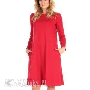 sukienka rozkloszowana czerwona,długa, lalu, sukienka, dzianina