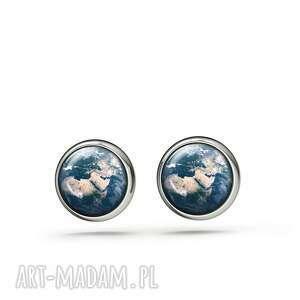kolczyki sztyfty - ziemia mini, kolczyki, sztyfty, małe, ziemia, planeta