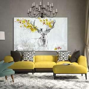 obraz na płótnie - 120x80cm jeleń jesienią 02274 wysyłka w 24h, jeleń, liście, jesień