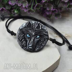 handmade bransoletka wilk w odcieniach srebra i czerni