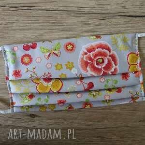 maseczka bawełniana - kwiaty na szarym tle, maska, maseczka, maseczki, kolorowe
