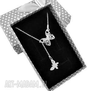 handmade naszyjniki srebrny naszyjnik krawat y ażurowy motyl pudełko
