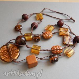 brązy - korale z drewna i szkła - korale, naszyjnik