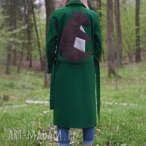 zielony niedźwiedź, wiosenny, bawełan, trench, wiązanie