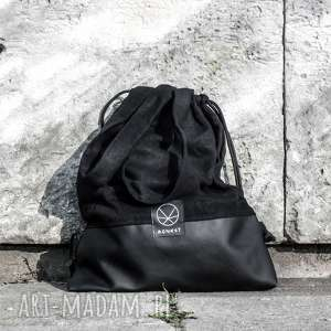 ręcznie robione na ramię torba worek black hemp 2w1