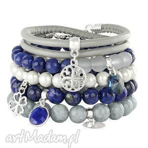 grey,navy blue silver set, jadeit, lapis, moneta, rzemień