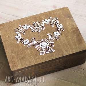 Skrzynia na koperty ślubne lub pamiątki II, pudełko, eko, serce, drewno,