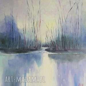 Obraz olejny ZIMNY DZIEŃ format 30/30 cm, pejzaż, niebieski, olej, zimny, kwadrat