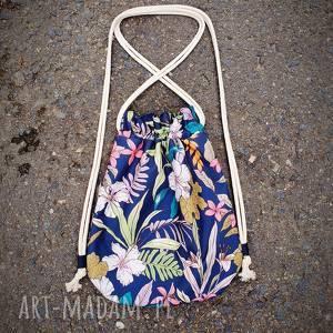 plecak worek mini kwiaty, poliesterwodoodporny, kwiatowy,