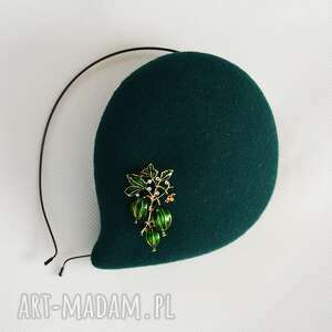 fascynatory filemonka zielona, fascynator, retro, filc, oryginalny prezent
