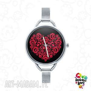 zegarki zegarek z grafiką love ludowe, folk, miłość, walentynki, serce, ludowy