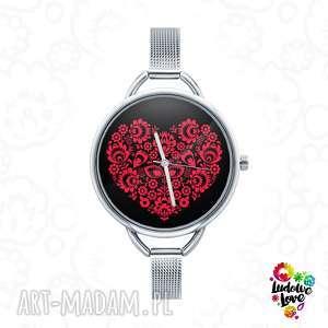 Zegarek z grafiką love ludowe zegarki ludowelove folk, miłość