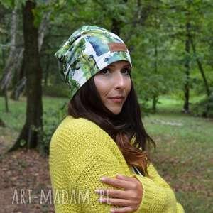 czapka beanie kolorowa liście unisex, czapka, liście, dzianina, kolorowa, jesień