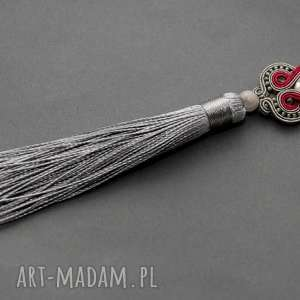 wisiorek sutasz - szary i fuksja, sznurek, elegancki, długi, komplet, chwost