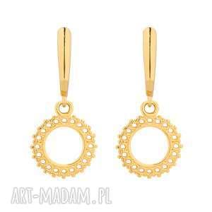 złote kolczyki z rozetami - minimalistyczne, wiszące, eleganckie