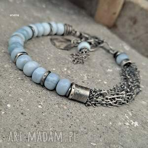 opal niebieski - bransoletka 07, niebieski, opal, nowoczesna