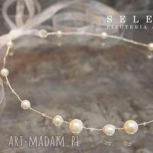 Ślubna opaska ozdoby do włosów selenit ślub, opaska, perły