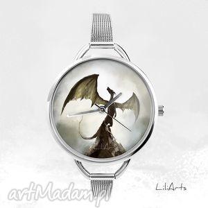zegarek - smok cienia fantasy, zegarek, bransoletka, smok, metalowy, prezent