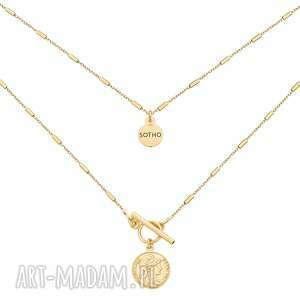 sotho złoty naszyjnik z monetą, zawieszka, moneta modny