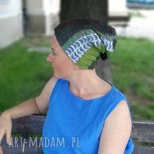 czapka damska na podszewce szyta patchworkowo, wiosenna, patchworkowa, etno