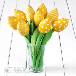pomysł na upominki święta TULIPANY żółty bawełniany bukiet, tulipany, kwiaty