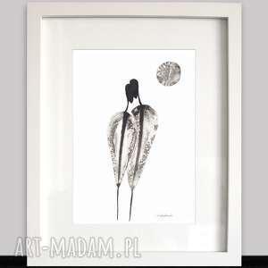 nowoczesna grafika czarno-biała, obraz abstrakcyjny 21x30 rysunek tuszem