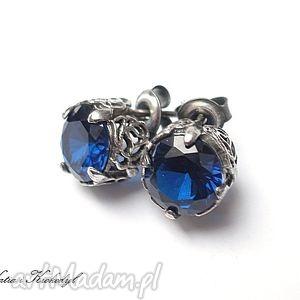 koronkowe sapphire, srebro, cyrkonie, kolczyki biżuteria