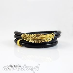 złote piórko - bransoletka owijana, bransoletka, rzemienie, piórko, elegancka