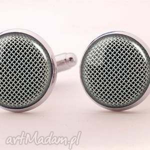 mikrofon - spinki do mankietów - mikrofon, muzyka, spinki, mankietów, facet