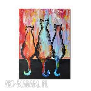 obrazy koty ml /3/, obraz ręcznie malowany, koty, obraz, ręcznie, prezent