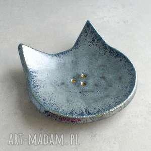 ręcznie wykonane ceramika kot - mydelniczka