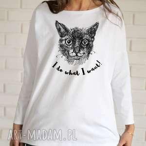 KOT Bluzka oversize bawełniana biała L/XL, bluzka, koszulka, bawełniana,