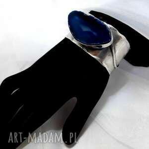 srebrna bransoleta z kamieniem agat niebieski unikat rękodzieło