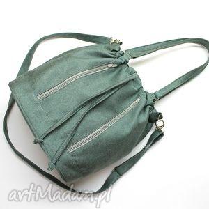 Worek Sakiewka - tkanina zielona, hobo, sack, worek, elegancka, nowoczesna