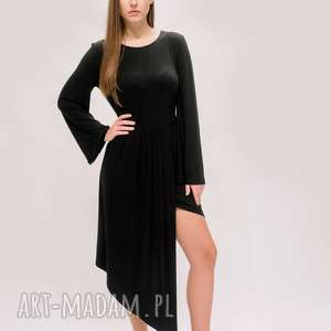 sukienki asymetryczna sukienka, tunika, czarna sylwestrowa boho