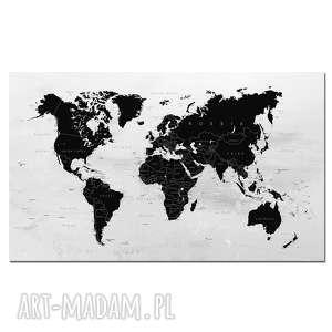 obraz xxl mapa świata 16 państwa - 120x70cm na płótnie czarny szary
