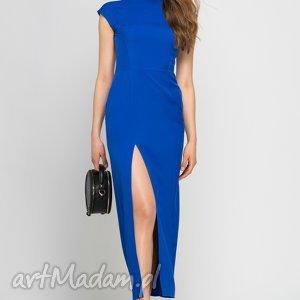Sukienka, SUK140 indygo, maxi, niebieska, wieczorowa, elegancka, stójka, rozcięcie