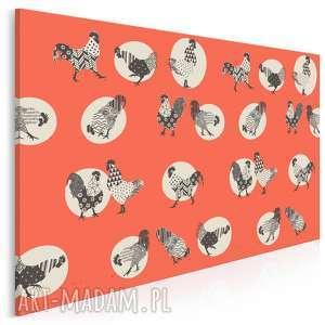 obraz na płótnie - koguty czerwony 120x80 cm 68001, kogut, koguty, folklor