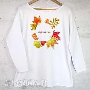 bluzki jesienna bluzka bawełniana biała z nadrukiem s/m, bluzka, bluza, liście