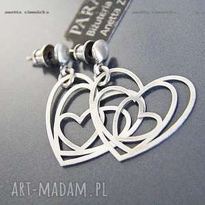 SREBRO, kolczyki srebrne serca, kwarce, serce, zawieszki, kule